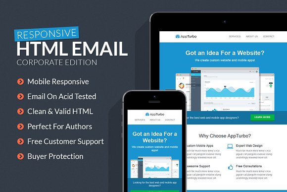 Appturbo html email template html css themes on for Cool html email templates