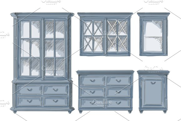 Vector Isolated Cupboards
