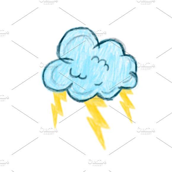 Illustration Of Hand Drawn Thunder