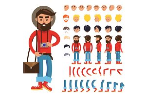 Cartoon Hipster Man Character Vector Constructor
