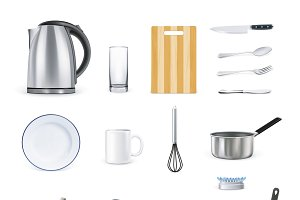 Icons set of kitchen utensils