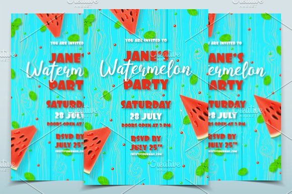 watermelon party invitation template flyer templates creative market