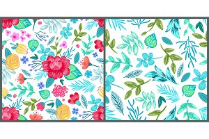 Set of Wallpapers with Pencil Drawn Flowers