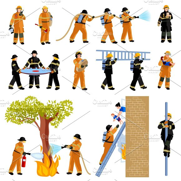Icons Set Of Firefighter People