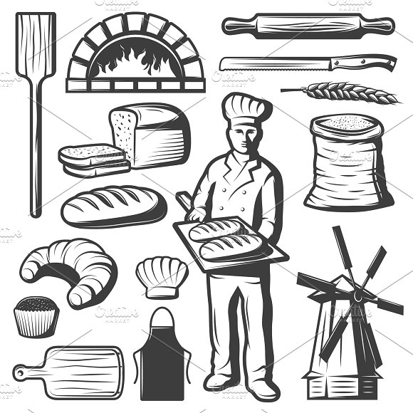 Vintage Bakery Elements Set