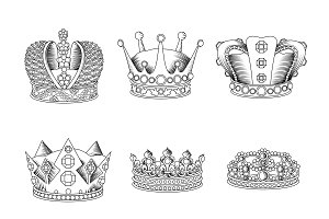 Crown Sketch Icon Set