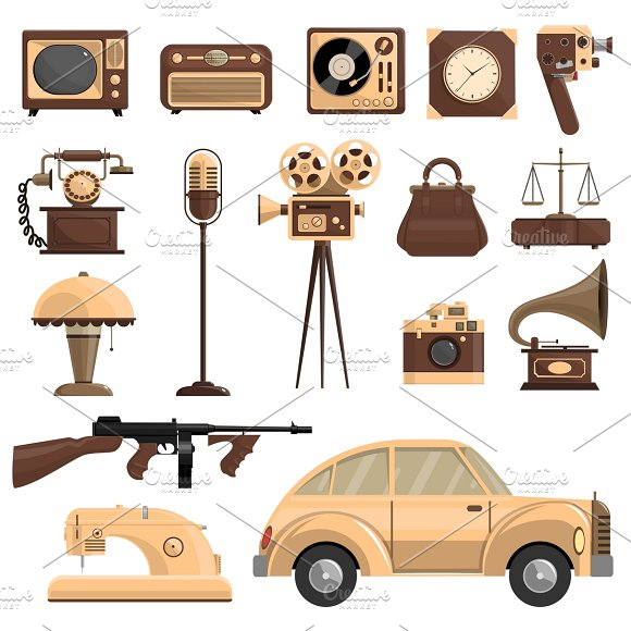 Retro Objects Set
