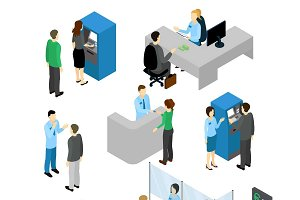 People In Bank Isometric Set