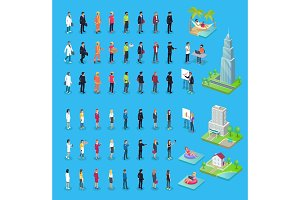 People of Various Professions and Buildings Set