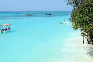 Crystal clear waters at Zanzibar bea