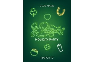 Saint Patrick's Day. Invitation design layout with neon St. Patrick's lettering and icons. Patrick Day poster