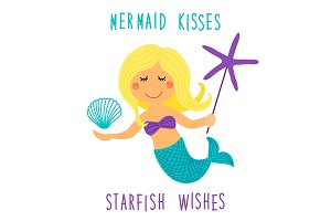 Cute childish hand drawn cartoon character of little mermaid with sea starfish, shell and lettering quote