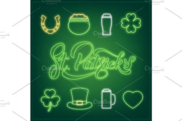Saint Patrick's Day Set Of Neon Icons And St Patrick's Lettering Patrick Day Design Elements