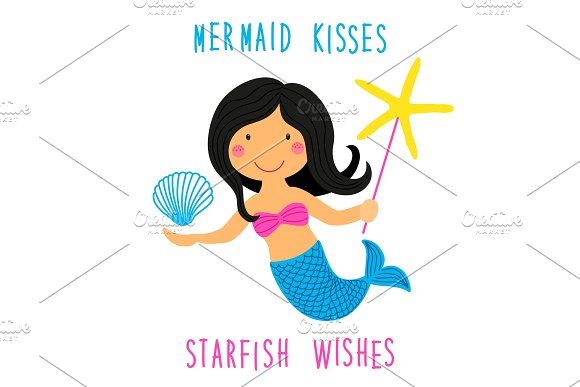 Cute Childish Hand Drawn Cartoon Character Of Little Mermaid With Sea Starfish Shell And Lettering Quote