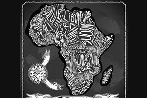 Africa Map on Vintage Blackboard