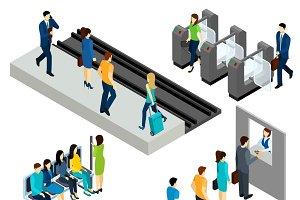 Metro station isometric icons