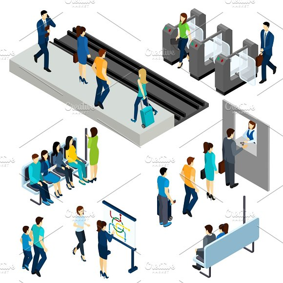 Metro Station Isometric Icons