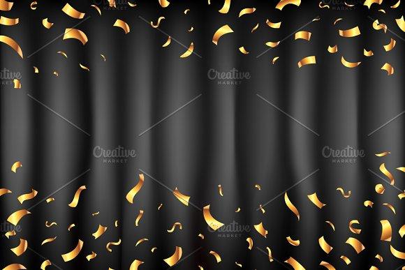 Curtain 6 Color Vector Gold Confetti
