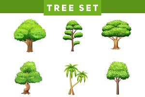 Green trees flat pictograms