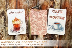 Watercolor coffee time set.