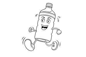 Run bottle of water coloring book vector