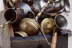 Kitchen utensils made of metal.