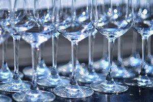Row of wine glasses