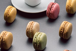 Cup of coffee and macaroons.