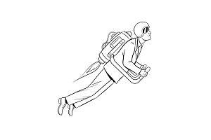 Man flying jet pack coloring book vector