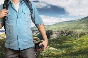Unrecognizable Traveler Blogger Man