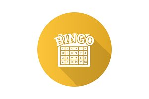 Bingo game flat design long shadow glyph icon