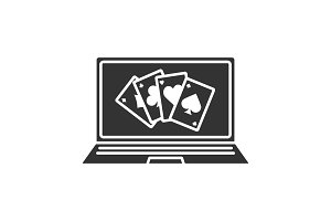 Online casino glyph icon