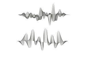 Two digital sound waves on white background.