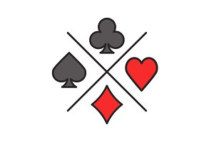 Suits of playing cards color icon