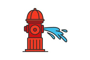 Fire hydrant gushing water color icon
