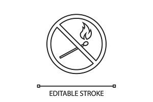 Forbidden sign with burning matchstick linear icon