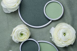 Ranunculus flowers with round frame
