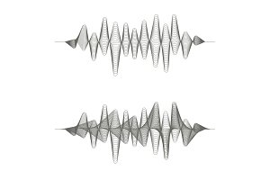Two monochrome sound waves on white background.