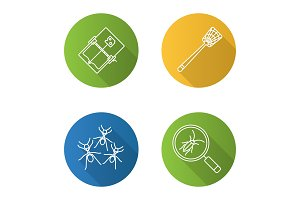 Pest control flat linear long shadow icons set
