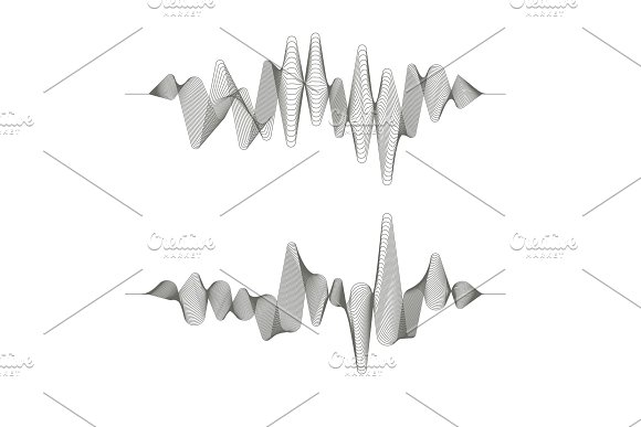 Two Vector Music Sound Wave Patterns