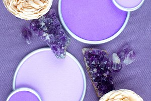 Amethyst crystals with round frame