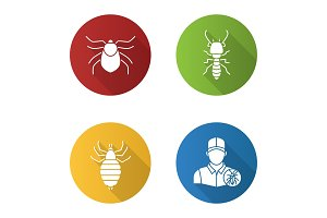 Pest control flat design long shadow glyph icons set
