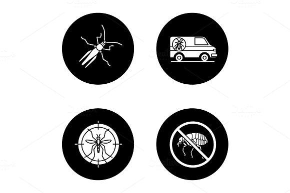 Pest control glyph icons set