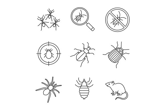 Pest control linear icons set