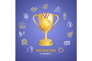 Motivation Concept with Golden Cup
