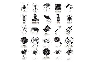 Pest control drop shadow black glyph icons set
