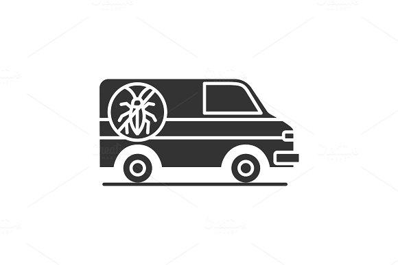 Exterminator mini bus car glyph icon