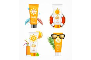 Realistic 3d Sunscreen Set Card