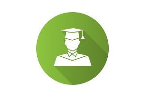 Graduate student flat design long shadow glyph icon