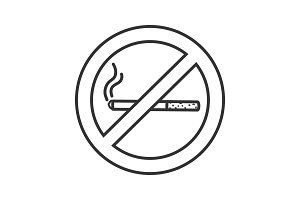 Forbidden sign with cigarette linear icon